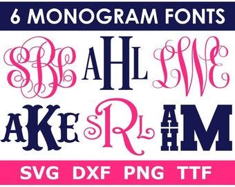 Monogram SVG Bundle + TTF, 6 Monogram Font Alphabets, Digital Download/Cricut, Silhouette, Glowforge, individual svg/png/dxf files + ttf