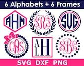 Monogram SVG Bundle, 6 Monogram Alphabets 6 Frames, Digital Download, Cricut, Silhouette, Glowforge (svg png dxf files)