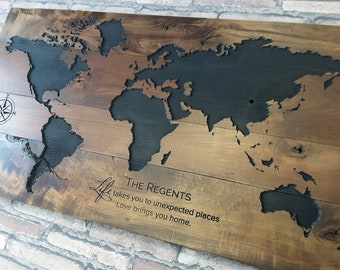 Carved world map etsy