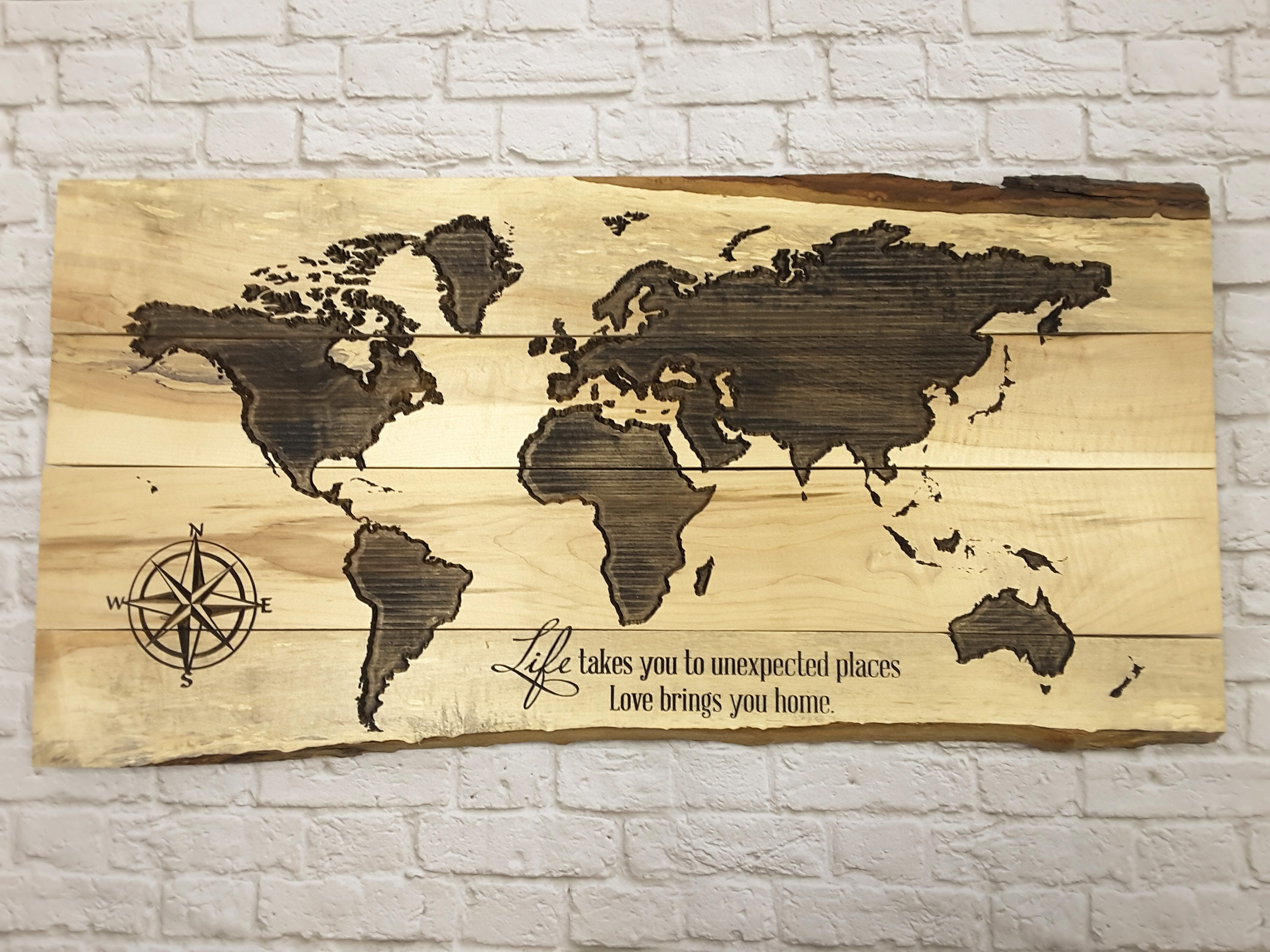 World Map Push Pin World Map Wall Art World Map Wood Art Etsy