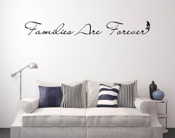 "Family Decals, Family Vinyl Decals, Wall Decals, Family Foyer Decals - ""Families Are Forever"" Religious Wall Decal Vinyl Lettering"