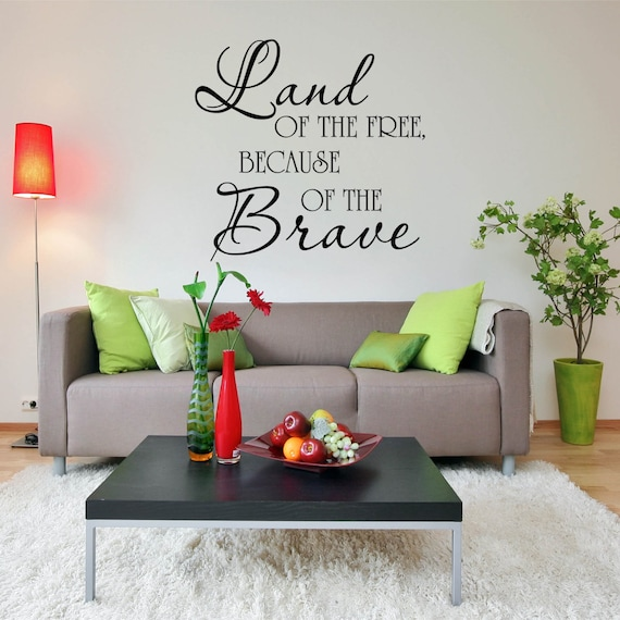 Wall Decal Land Of The Free Home Wall Decal Vinyl Etsy