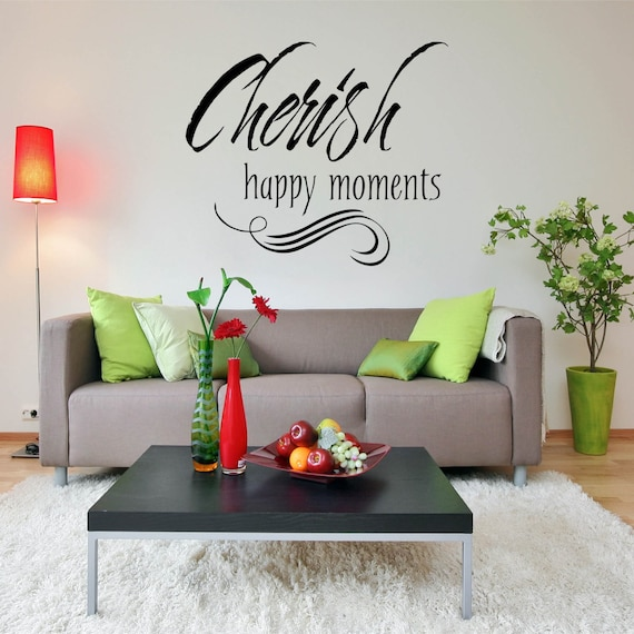 Wall Decal Quote, Wall Decal For Bedroom, Decals, Vinyl Decal   Cherish  Happy Moments Home Wall Decal Vinyl Lettering