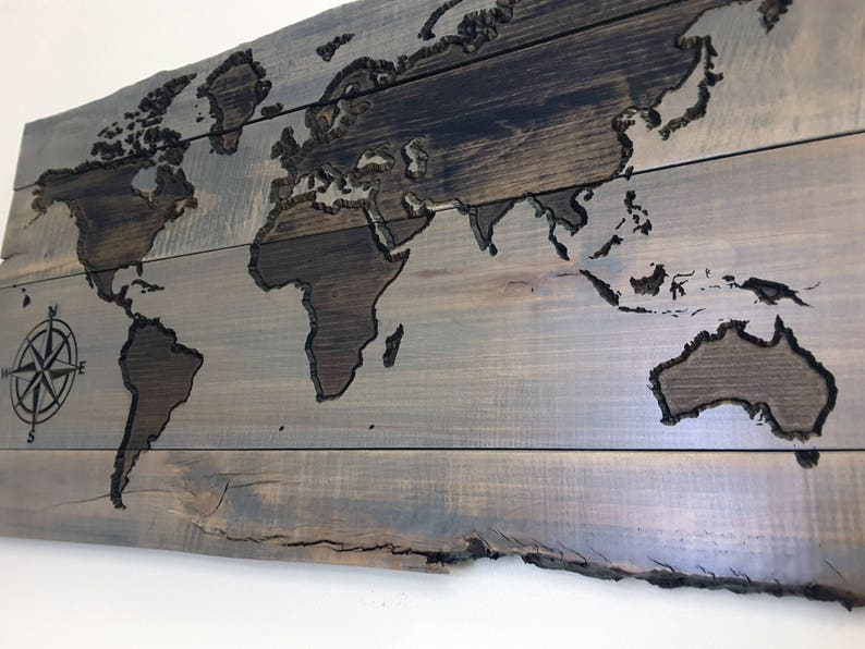 Wood World Map Wall Art Travel Map Map Art Gifts For Etsy