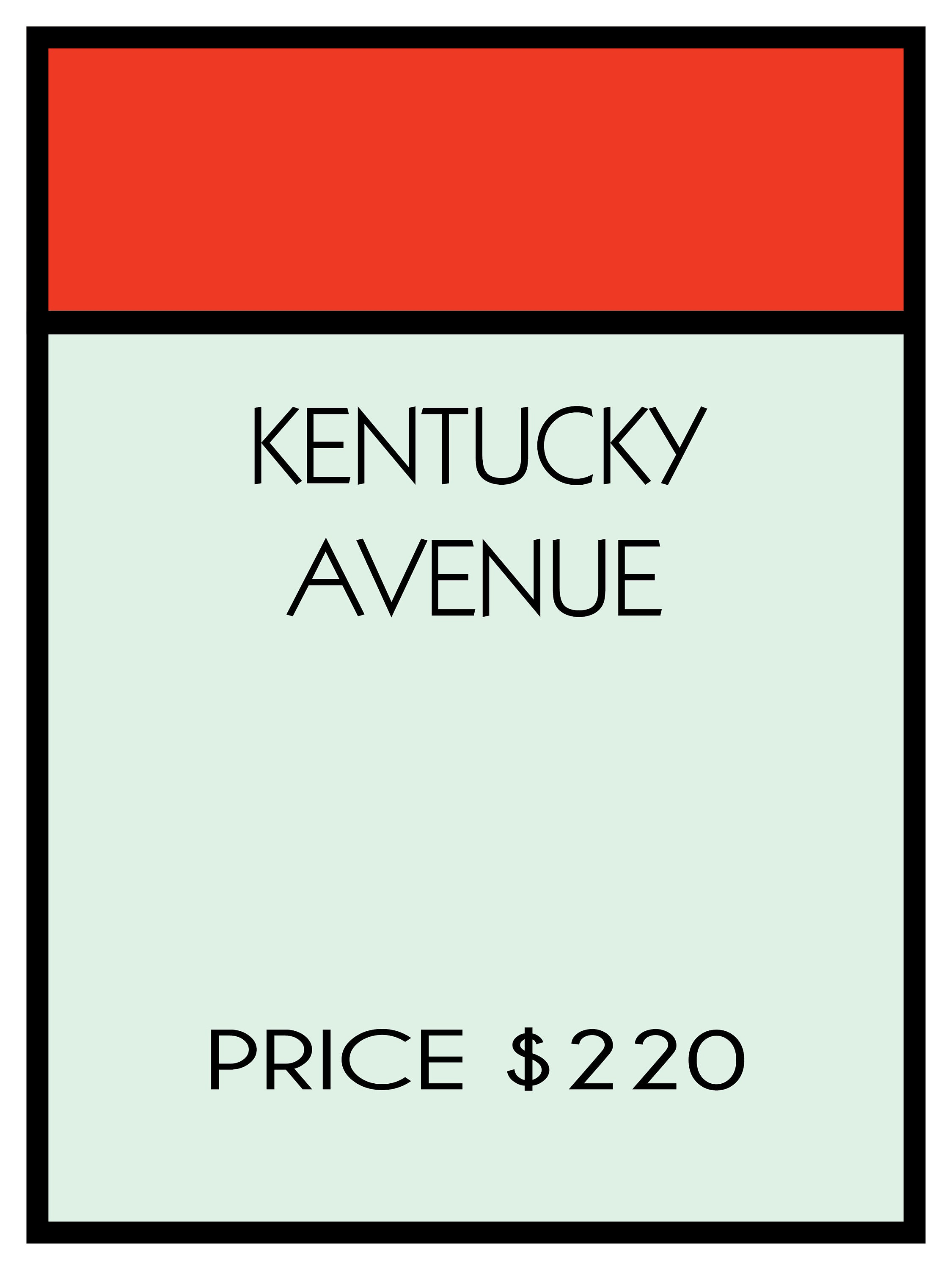 Monopoly Game Poster Kentucky Avenue Sized at 18x24 ALL