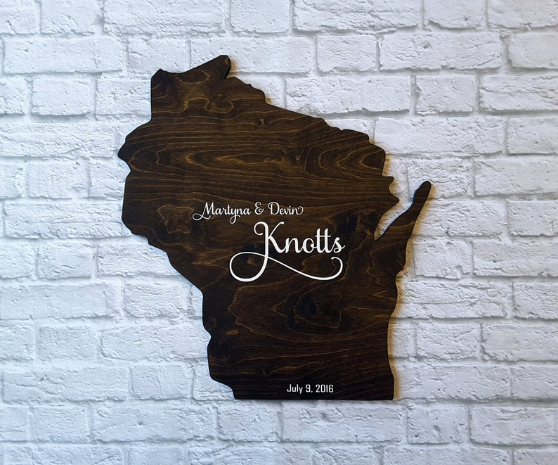 Wedding Shower Gift Wood State Cutout Unique Wedding Guest Book Alternative Wisconsin Personalized State Guest Book Custom State Sign