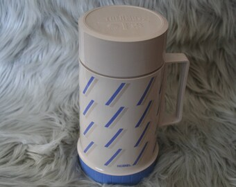 Vintage Periwinkle Blue and Tan  Thermos Beverage Jug Cooler