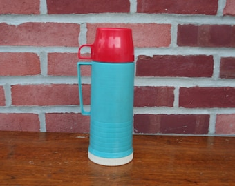 Vintage Red & Turquoise Thermos Beverage Jug Cooler