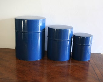 Set of 3 vintage Nesting Metal Canisters, made in Japan