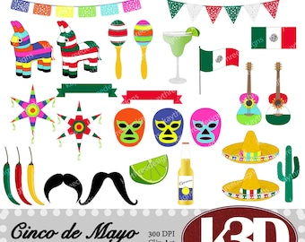 Cinco de Mayo, Mexican, piñata, el luchador, Papel Picado, clipart clip art instant digital download. 30 digital images, graphics