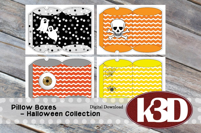 Pillow Box printable instant download Halloween Black and image 0