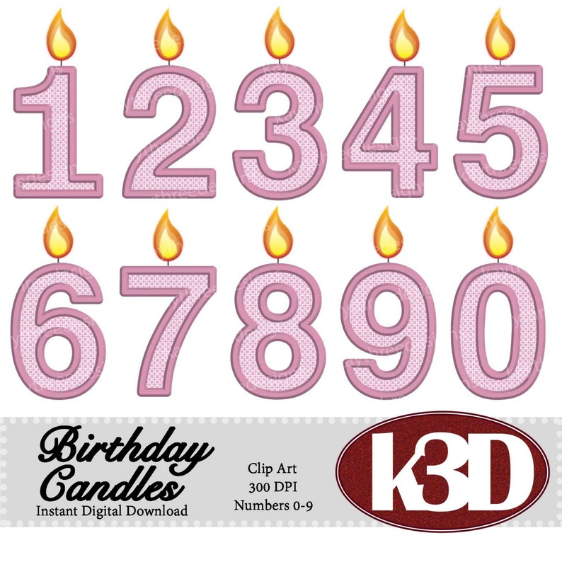 Happy Birthday Pink Number Candle Candles 0 1 2 3 4 5 6