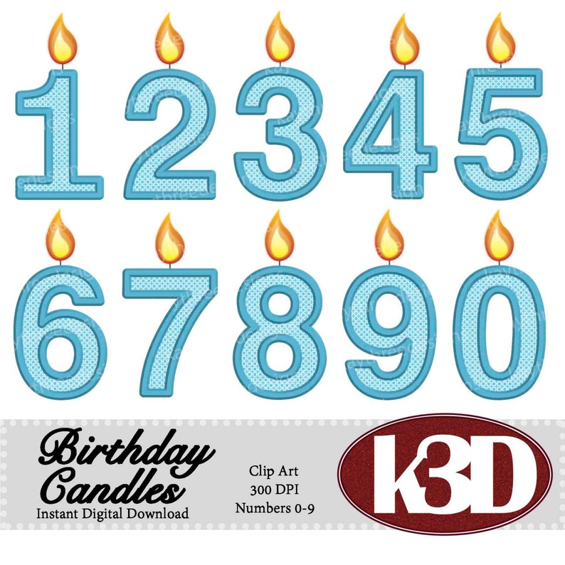 Happy Birthday Blue Number Candle Candles 0 1 2 3 4 5 6