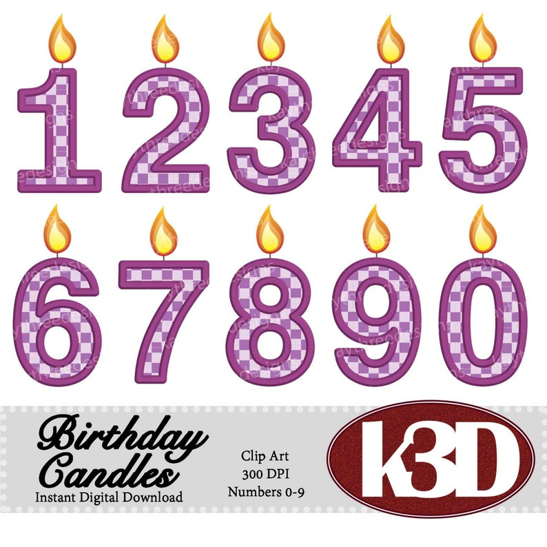 Happy Birthday Purple Number Candle 0 1 2 3 4 5 6 7 8