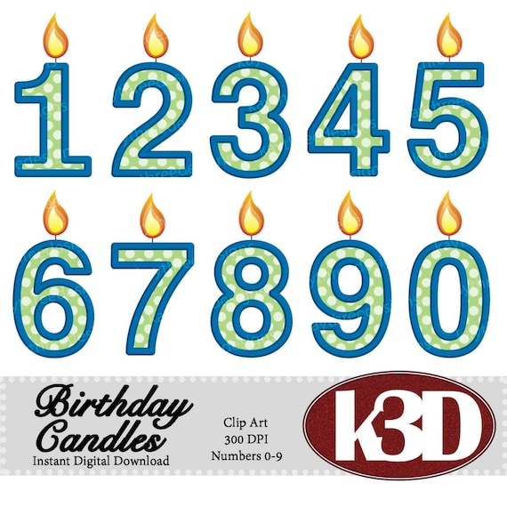 Happy Birthday Blue Green Number Candle 0 1 2 3 4 5 6