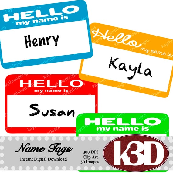 name tags hello my name is name tags rainbow etsy rh etsy com names clip art pictures name clip art generator