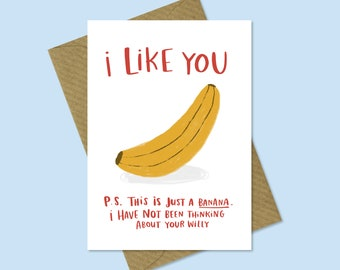 Funny Banana Valentines Anniversary Card