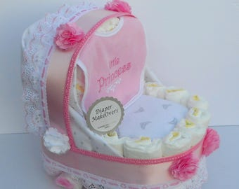 Baby Carriage Diaper Cake - Carriage Diaper Cake - Girl Diaper Cake - - Unique Baby Shower Gift or Centerpiece - Basinet