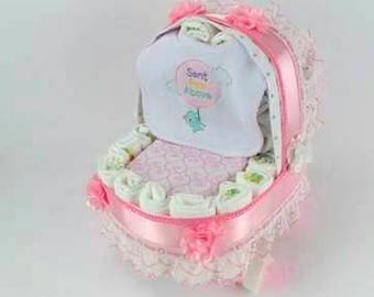 Girl Diaper Cake - Unique Baby Shower Gift or Centerpiece - Basinet - Baby Carriage Diaper Cake