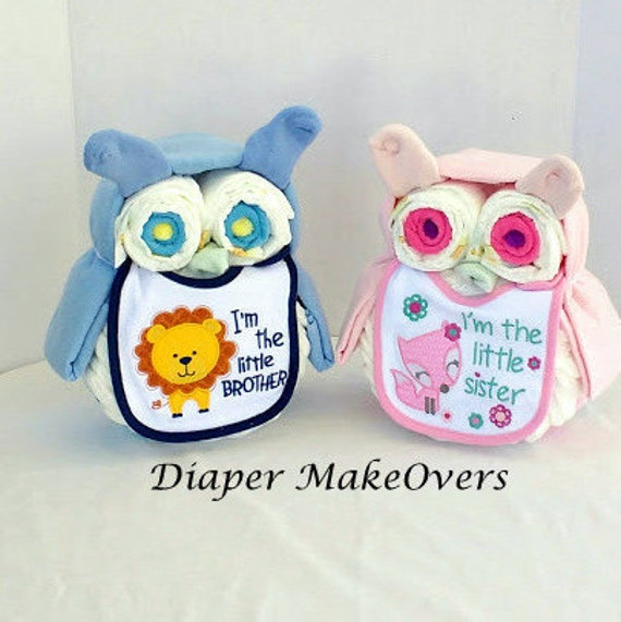 Twin Boygirl Owl Diaper Cake Unique Baby Shower Gift Etsy