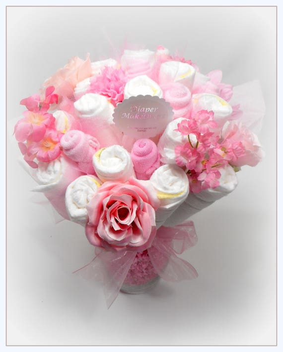 Baby Shower Centerpiece Diaper Bouquet Flower Bouquet | Etsy