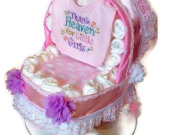 Baby Carriage Diaper Cake - Girl Diaper Cake - Unique Baby Shower Gift or Centerpiece - Basinet - Baby Shower Gift Ideas
