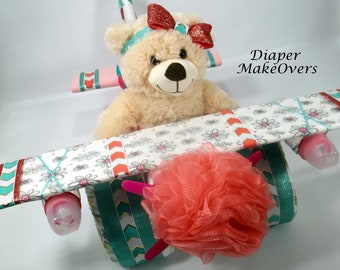 Baby Girl Diaper Cake - Airplane Diaper Cake - Diaper Cakes - Unique Baby Shower Gift - Baby Shower Centerpiece