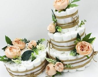 Rustic Diaper Cake - Floral Baby Shower - Burlap Diaper Cake - Gender Neutral - Baby Shower Centerpiece
