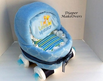 Baby Carriage Diaper Cake -  Blue Basinet - Unique Baby Shower Gift or Centerpiece - Boy Diaper Cake - Baby Boy, Baby Girl, Neutral