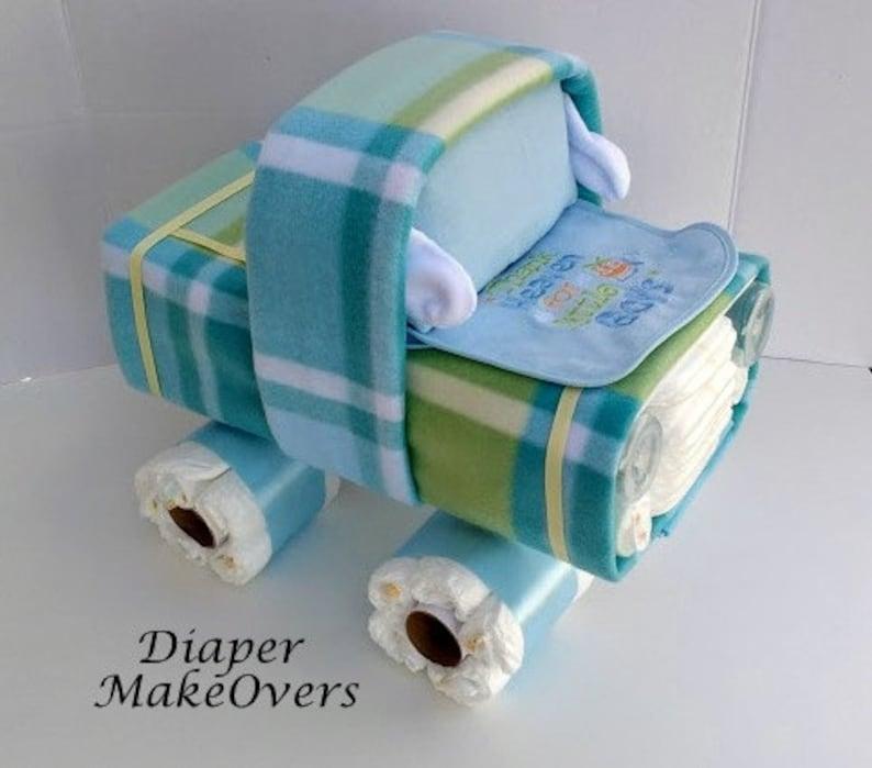 Shower Centerpiece Baby Girl Unique Diaper Cake Baby Boy Diaper Cake Baby Shower Gift Truck Diaper Cake Gender Neutral Gift Ideas