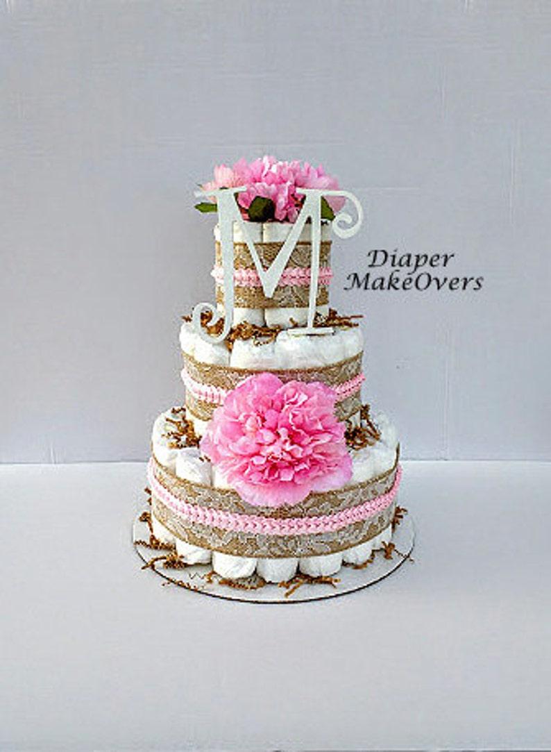 3 Tier Diaper Cake Rustic Burlap Lace Diaper Cake Unique Diaper Cake Burlap Diaper Cake Baby Shower Centerpiece Shower Decorations