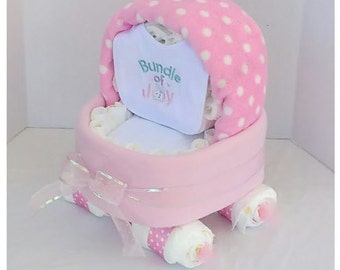 Pink Baby Carriage Diaper Cake - Unique Baby Shower Gift or Centerpiece - Basinet - Girl Diaper Cake - Baby Boy, Baby Girl, Neutral