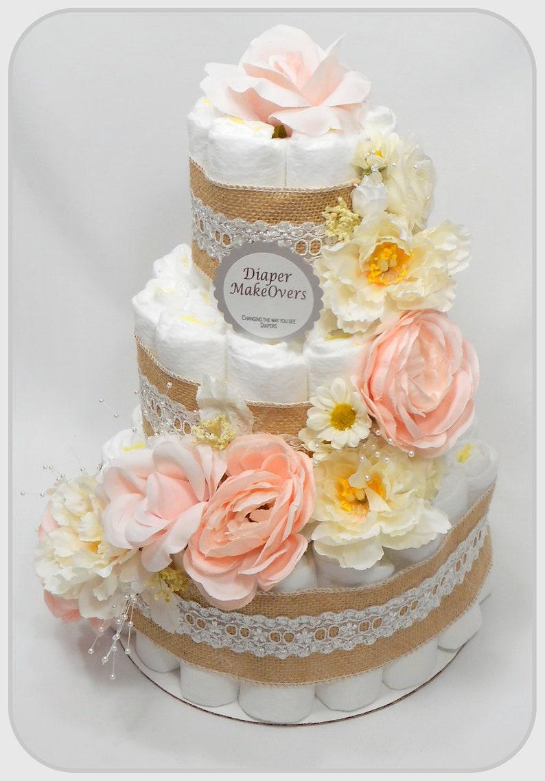 Flower Diaper Cake Baby Shower Centerpiece Girl Diaper Cake Diaper Cake Girl Purple and White Flowers Diaper Cakes for Girls