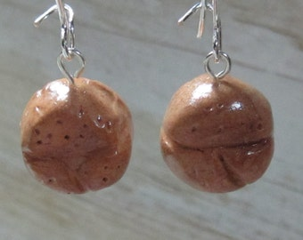 Free Shipping!!! DINNER ROLLS polymer clay earrings on silver plated ear wires-Handcrafted Jewelry
