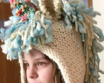 Custom Hand Knit Wool Unicorn Hood Scarf Hat Mittens Sizes 12 mo - Adult c3ea0bc98e0