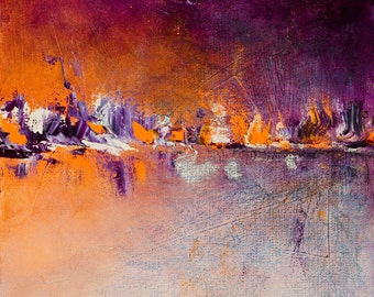 "Semi-abstract Seascape - Acrylic Painting - 12"" x 12"""
