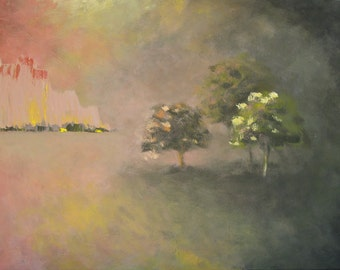 """Landscape - Pink Mountain - Acrylic Painting - 36"""" x 24"""""""