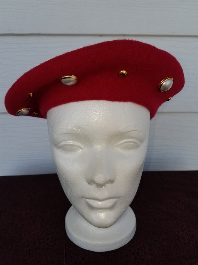 36d161d002ce9 Red Betmar Wool Beret Jeweled with Faux Pearls and Gold Toned