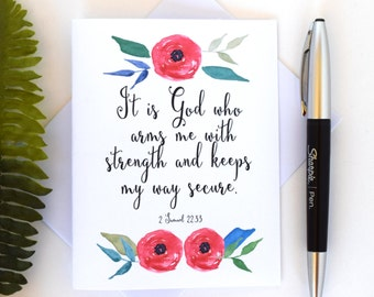 Bible Verse Card 2 Samuel 2233 Inspirational Watercolor