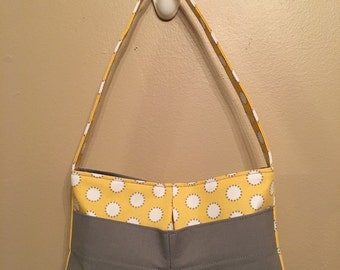 Handmade Exterior Pocket Handbag, Yellow and Grey Small