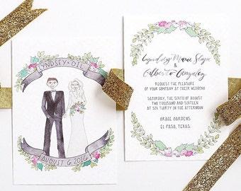 Custom Couple Watercolor Wedding Invitation Suite (Invitation & RSVP) Custom Couple Portrait, Custom Wedding Portrait
