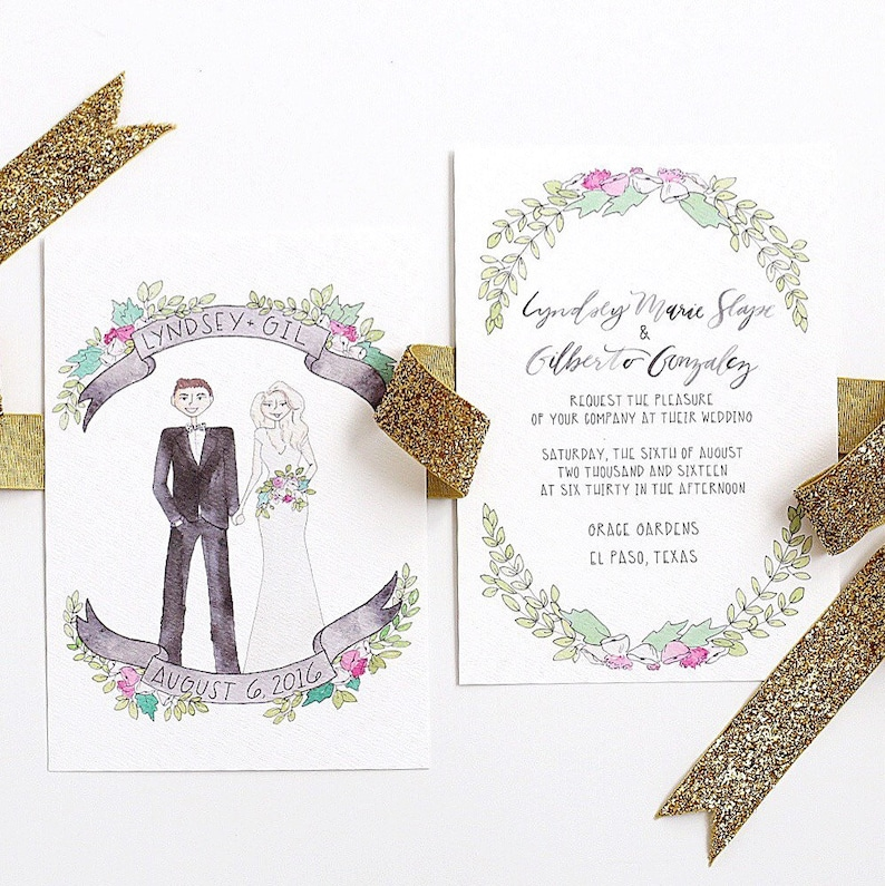 ecbc82485582e Custom Couple Watercolor Wedding Invitation Suite (Invitation & RSVP)  Custom Couple Portrait, Custom Wedding Portrait