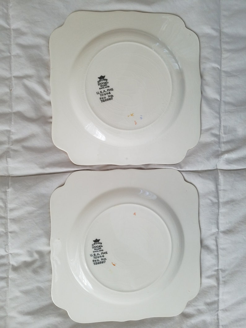 Set of 6 Crown Ducal Wear Square Plates