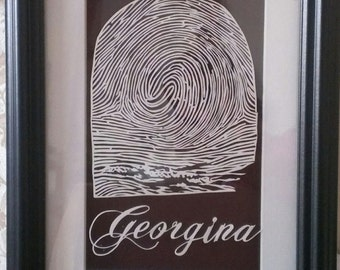 Custom fingerprint Papercut * Your unique fingerprint hand cut from paper as a piece of art!!! *** Only place to get this done ***