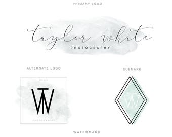 Branding Package - Marble and Copper Minimalist Logo Design - Modern Photography Logo Watermark - Fashion Blog Boutique Premade Branding Kit