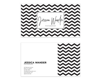 black white chevron business card design striped business etsy