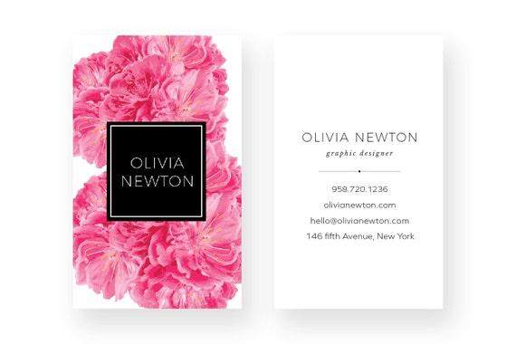 Rosa Pfingstrose Visitenkarte Design Taupe Visitenkarte Visitenkarte Druckbare Business Visitenkarte Grafikdesign Aquarell Vorgefertigten