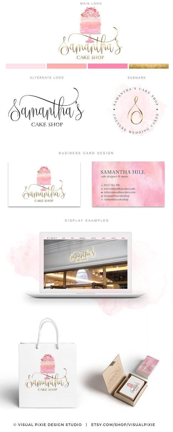 PREMIUM marca paquete oro pastel acuarela panadería flores | Etsy