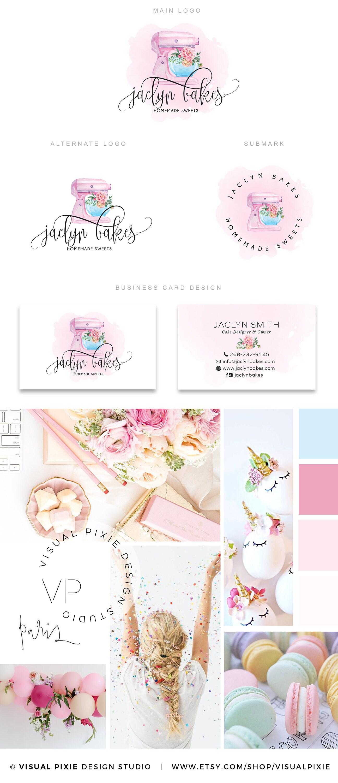PREMIUM marca paquete rosa soporte mezclador Logo-acuarela | Etsy
