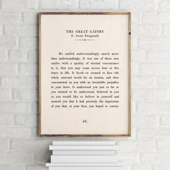 The Great Gatsby Printable Quote F Scott Fitzgerald Quote Custom Text Print Inspirational Motivational Print Book Page Print Quote Wall Art